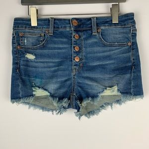 AEO Hi Rise Shortie Jean Short 8 Distressed